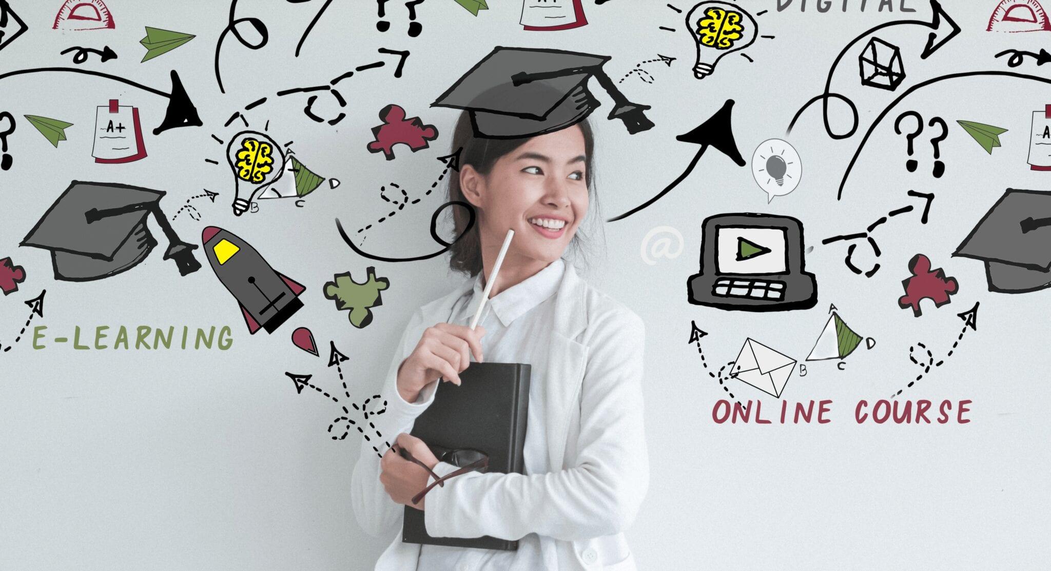 Junge Frau blickt auf weiße Wand mit Darstellungen zum Thema E-Learning.